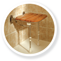A shower seat shown with a wood effect finish